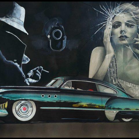 Buick Sedanette Original Car Drawing Painting Poster Illustration Automotive Art