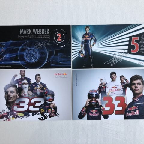 Set of 4 Red Bull Racing / Toro Rosso Driver Cards / Post Cards