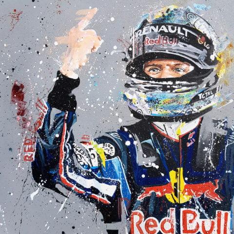 Sebastian Vettel 05 Artist Embellished Print By Sean Wales