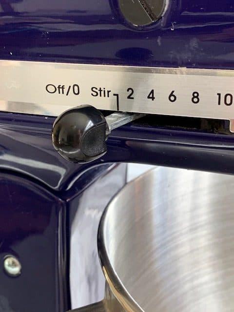 KitchenAid blue artisan mixer on stir