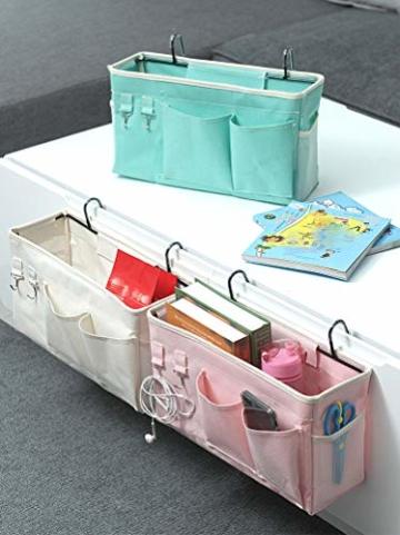 E EBETA Bett Organizer Bett Tasche mit Darhthaken Hängetasche Hochbett Aufbewahrungstasche für Buch, Magazin, Handy, Kopfhörer Bett Aufbewahrung(Weiß) - 3
