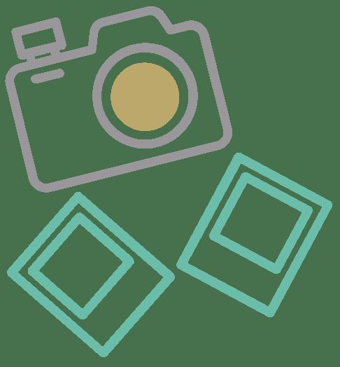 icono camara y fotos gris y verde