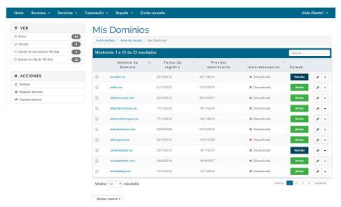 Gestion dominios registros.com
