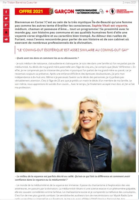 Sophie Vitali médium et parapsychologue en interview dans le nouveau Garçon Magazine