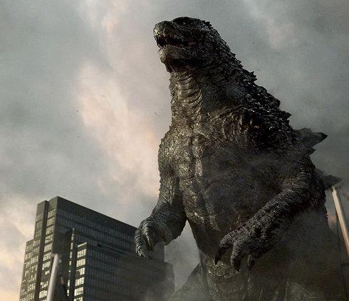 Godzilla au milieu des ruines et prêt pour le combat
