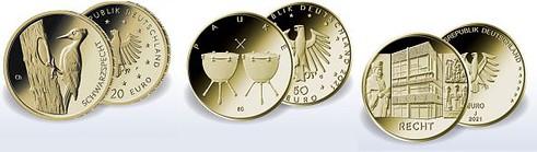 Goldmünzen, Euro, Deutschland, 2021