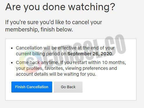 klik tombol Finish Cancellation