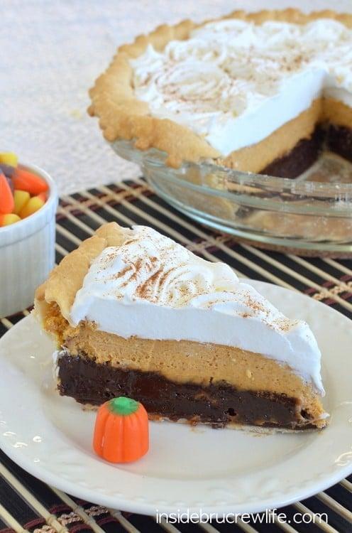 Pumpkin Cheesecake Brownie Pie