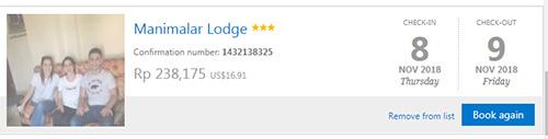 Bukti menginap di Manimalar Lodge