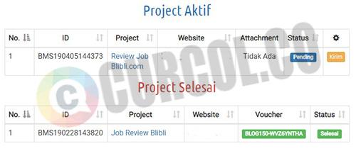 Tampilan daftar project