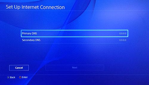 Page Configurer la connexion Internet Playstation avec l'option DNS Primaire sélectionnée.