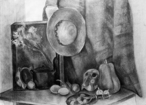 Charcoal drawing. Classes at 4 Pintors School