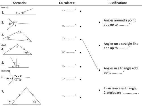 angles worksheet starter