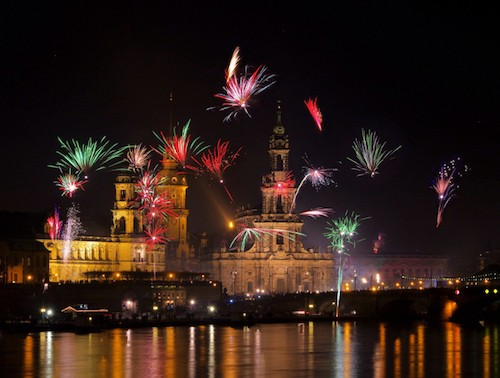 Fireworks on New Years Eve in Dresden, Germany