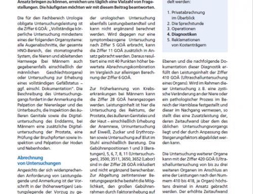 UroForum 6/19: Urologische Diagnostiken richtig abrechnen