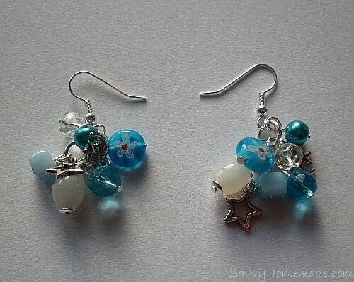 homemade clustered earrings