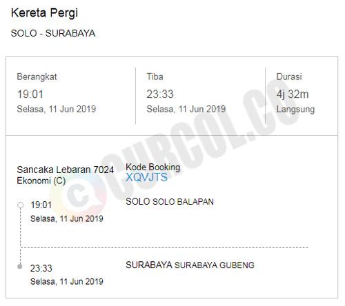Nota pembelian tiket kereta Sancaka Lebaran