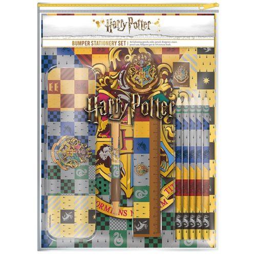 set astuccio in metallo righello penna gomma temperino matita e 4 colori a pastello Harry Potter