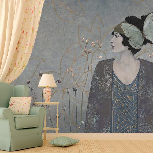 portet kobiety-delikatne kwiaty-modernizm