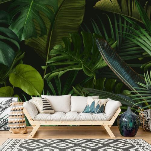 dżungla-egzotyczne wzory liści-palmy