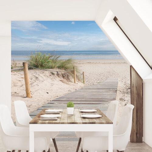 Mała kuchnia - fototapety 3D powiększające pomieszczenie W dodze na Plażę