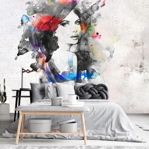 Aranżacja sypialni w stylu nowoczesnym tapeta abstrakcyjna Portret Kobiety