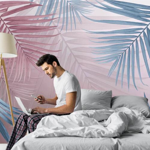 Aranżacja sypialni - tapeta w kolorowe liście