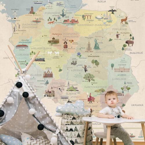 pomysły na aranżacje pokoju dziecka - tapety w mapy