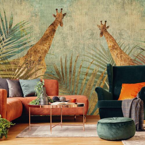 Olbrzymie liście palm tapeta artystyczna do stylowych wnętrz