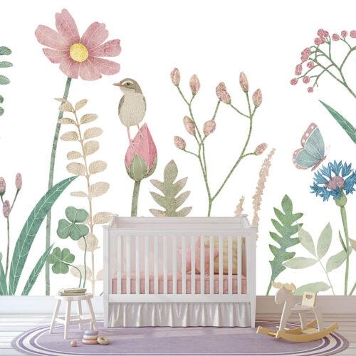 pokój dziecka w stylu skandynawskim tapeta na ścianę z roślinami