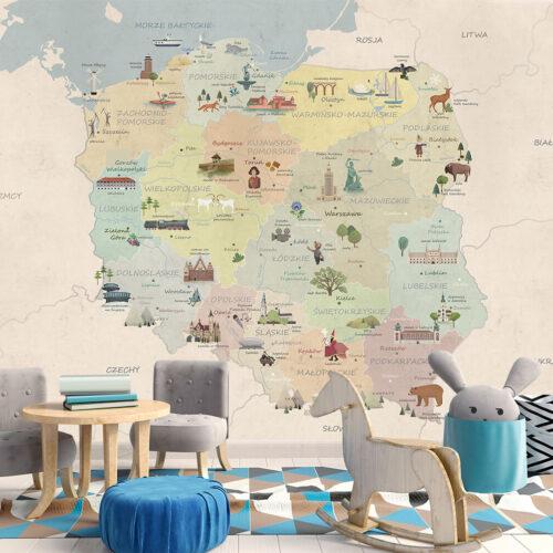Pokój dziecka - Piękna tapeta na ścianę Mapa Polski