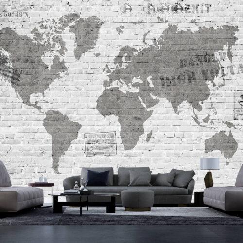 Mapa świata na ścianie z cegieł - tapeta nowoczesna
