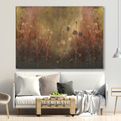 Obrazy do salonu - wzór kwiatowy w kolorze miedziano-złotym