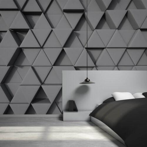 Pomysły na małą sypialnie - tapety 3D Trójkąty