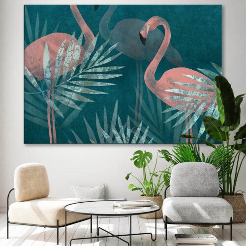 nowoczesny salon w stylu skandynawskim jasne meble obraz z flamingami i ogromnymi liśćmi palm