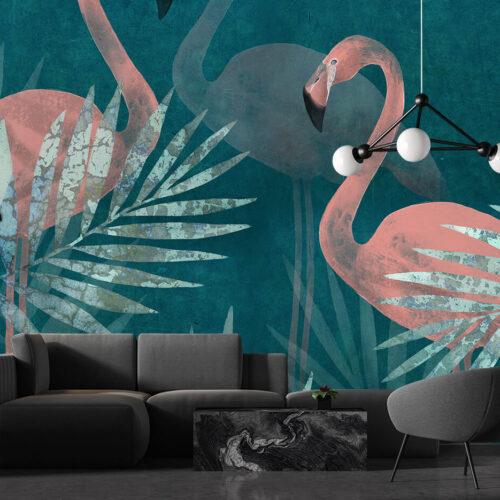 Aranżacja salonu - modna fototapeta z flamingami