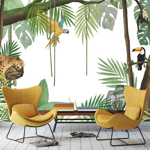 Fototapeta do nowoczesnego salonu palmy papugi