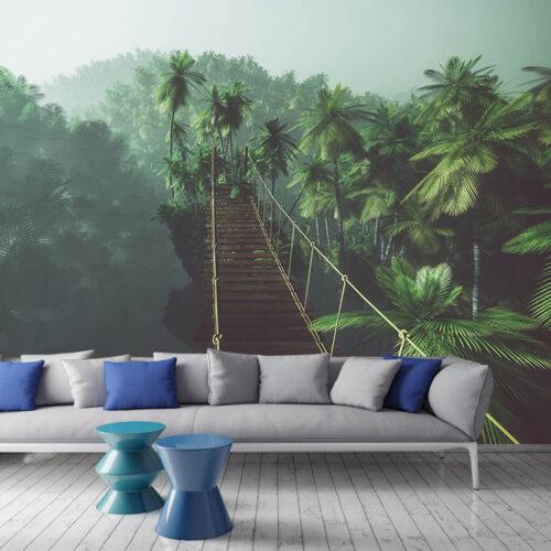 Aranżacja salonu - Fototapety 3D - Most Wiszący