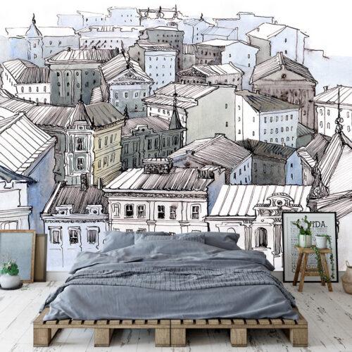 fototapety do nowoczesnej sypialni Dachy Miasta