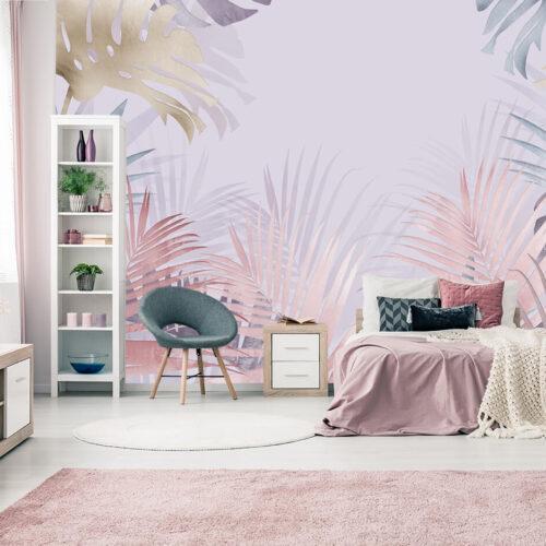 sypialnia w jasnych pastelowych kolorach z fototapetą w liście palm