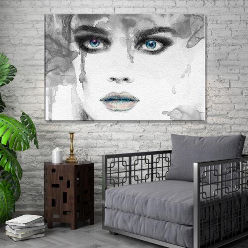 obraz na plotnie abstrakcja kobieta spojrzenie