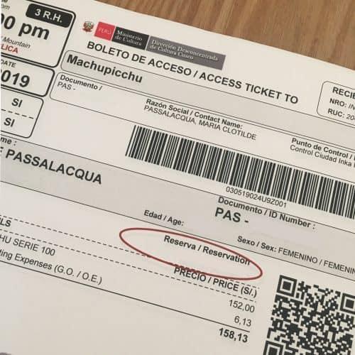 ticket to Macchu picchu