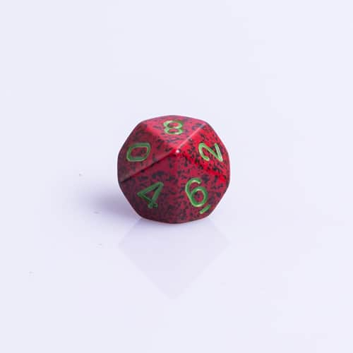 10 Vlakken Dobbelsteen Speckled Strawberry 16mm