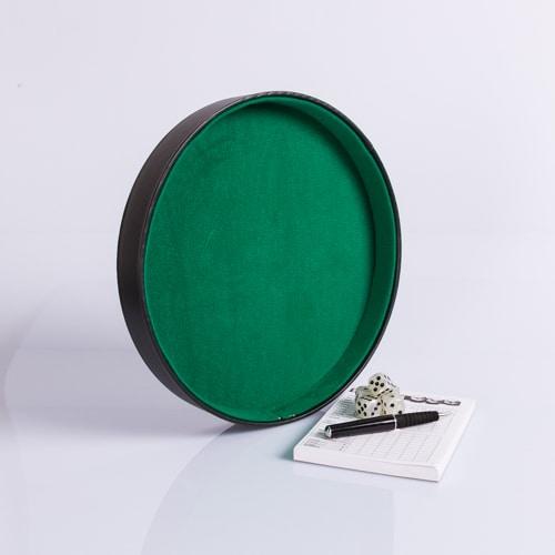 Dobbelpiste Dobbelbak Rond Zwart Vinyl met Groen Vilt 26cm waar te koop