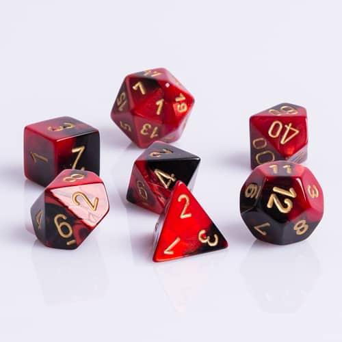Polydice 7 Dobbelstenenset Gemêleerd Zwart Rood met Goud Dobbelsteenset voor RPG