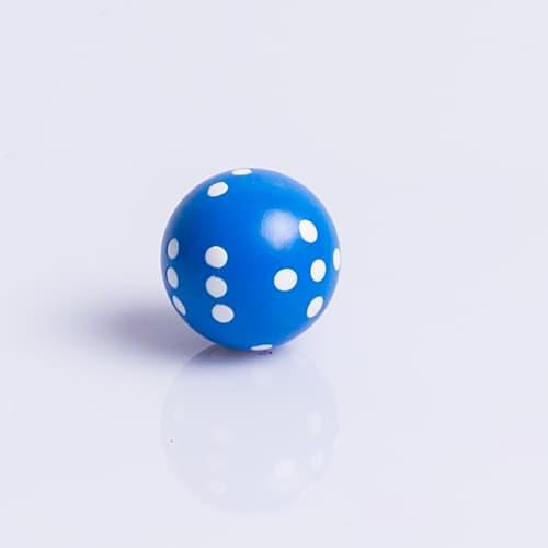 Ronde Dobbelsteen 22mm Blauw met Wit