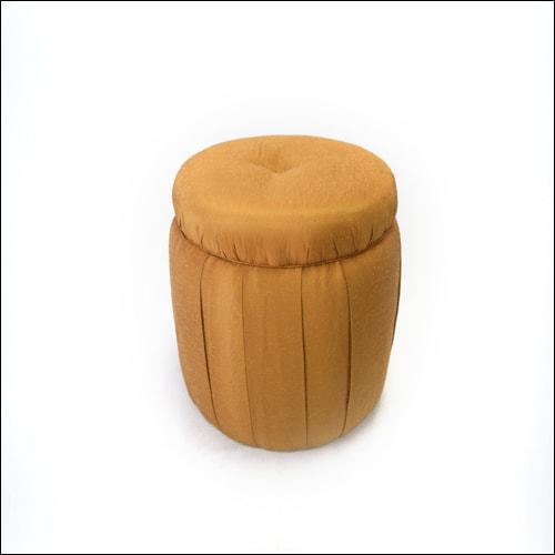 Lush Round Silk Puff Ottoman/Bench F-S-O-016-GLD