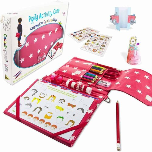 The self-contained pipity art kit contains all your basic art supplies and has a strap for carrying it.