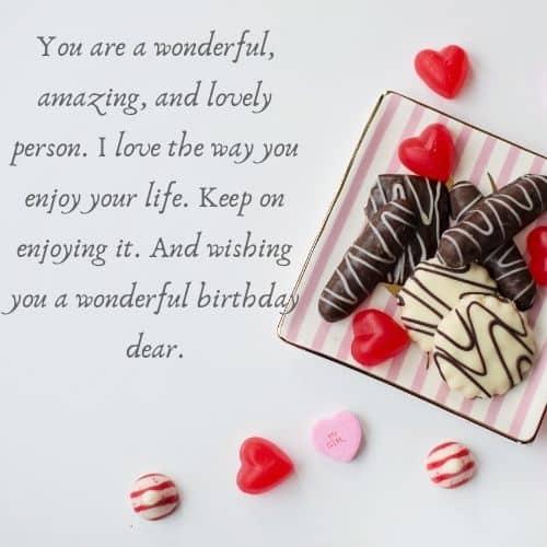 Keep on enjoying it. wishing you a wonderful birthday dear