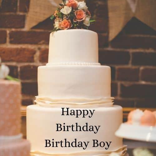 white birthday cake with name wish